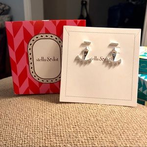 NWT Stella & Dot Pave Silver Triangle Ear Jackets